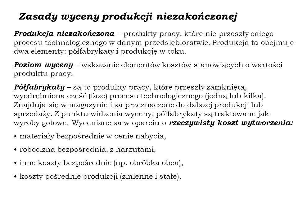 Zasady wyceny produkcji niezakończonej Produkcja niezakończona – produkty pracy, które nie przeszły całego procesu technologicznego w danym przedsiębi