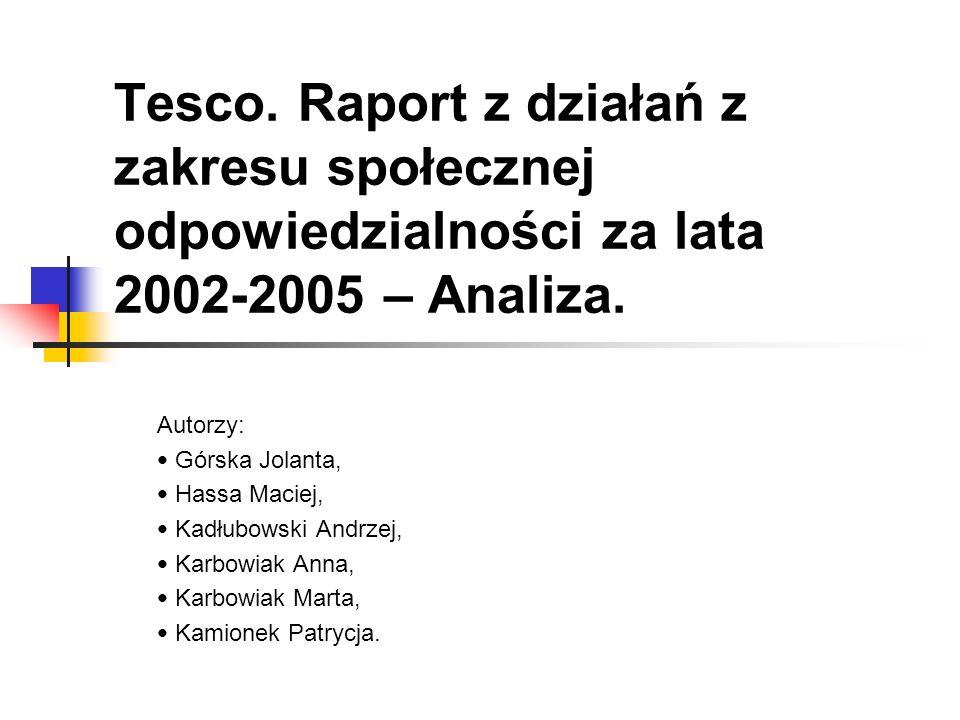Tesco. Raport z działań z zakresu społecznej odpowiedzialności za lata 2002-2005 – Analiza. Autorzy: Górska Jolanta, Hassa Maciej, Kadłubowski Andrzej