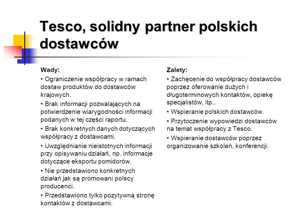 Tesco, solidny partner polskich dostawców Wady: Ograniczenie współpracy w ramach dostaw produktów do dostawców krajowych. Brak informacji pozwalającyc