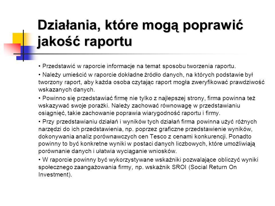 Działania, które mogą poprawić jakość raportu Przedstawić w raporcie informacje na temat sposobu tworzenia raportu. Należy umieścić w raporcie dokładn