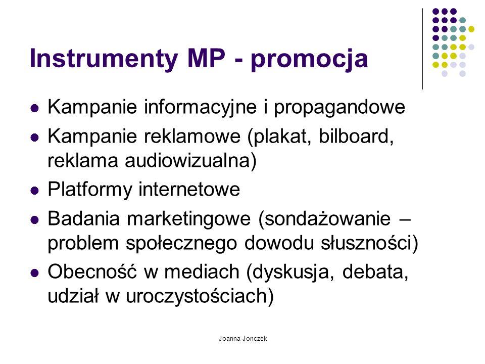 Joanna Jonczek Instrumenty MP - promocja Kampanie informacyjne i propagandowe Kampanie reklamowe (plakat, bilboard, reklama audiowizualna) Platformy i