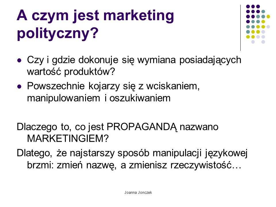 Joanna Jonczek A czym jest marketing polityczny? Czy i gdzie dokonuje się wymiana posiadających wartość produktów? Powszechnie kojarzy się z wciskanie
