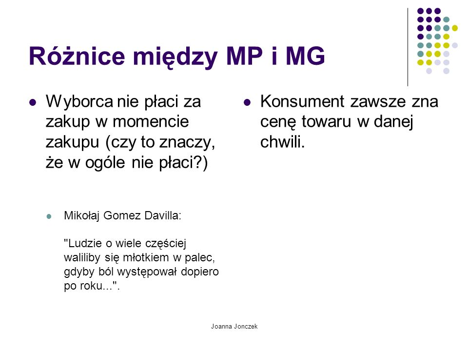 Joanna Jonczek Różnice między MP i MG Wyborca nie płaci za zakup w momencie zakupu (czy to znaczy, że w ogóle nie płaci?) Mikołaj Gomez Davilla: Ludzie o wiele częściej waliliby się młotkiem w palec, gdyby ból występował dopiero po roku... .