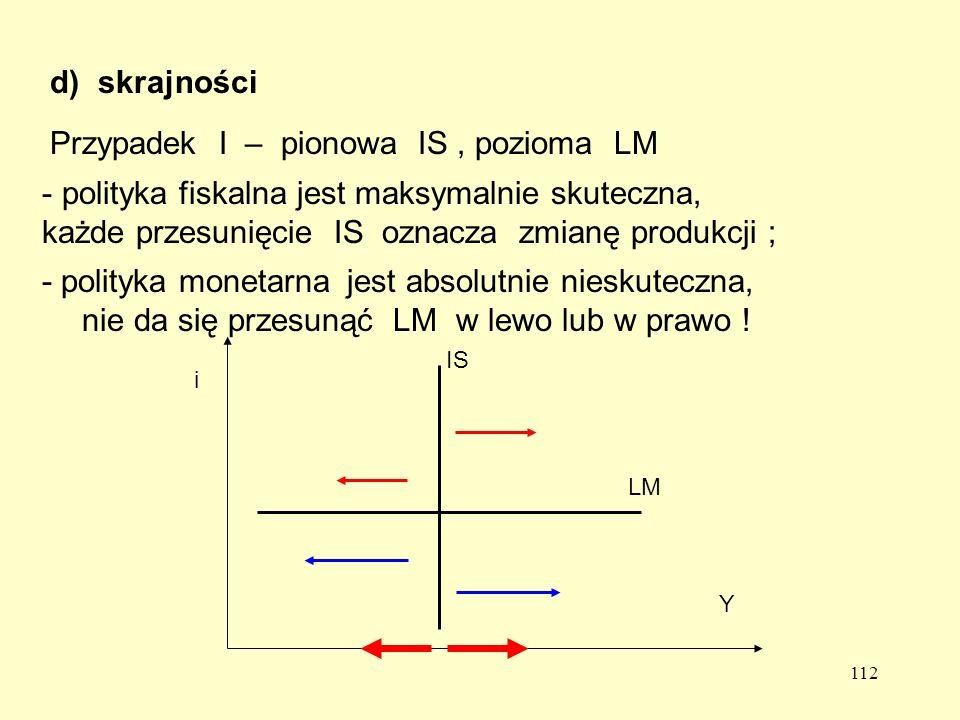 112 d)skrajności Przypadek I – pionowa IS, pozioma LM Y i IS LM - polityka fiskalna jest maksymalnie skuteczna, każde przesunięcie IS oznacza zmianę produkcji ; jest absolutnie nieskuteczna, nie da się przesunąć LM w lewo lub w prawo .