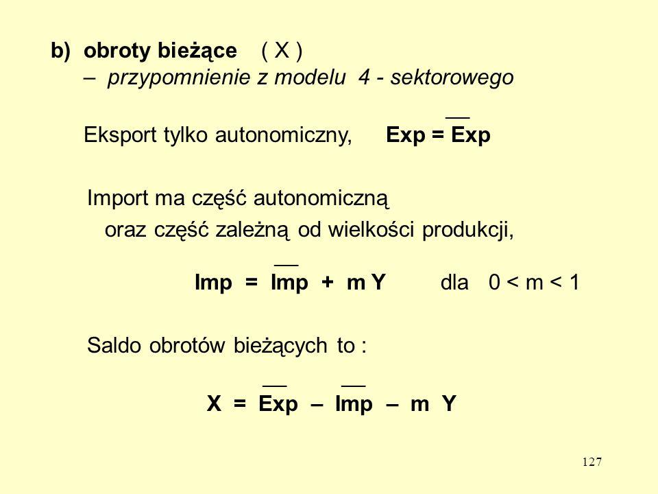 127 b)obroty bieżące ( X ) – przypomnienie z modelu 4 - sektorowego ___ Eksport tylko autonomiczny, Exp = Exp Import ma część autonomiczną oraz część zależną od wielkości produkcji, ___ Imp = Imp + m Y dla 0 < m < 1 Saldo obrotów bieżących to : ___ ___ X = Exp – Imp – m Y