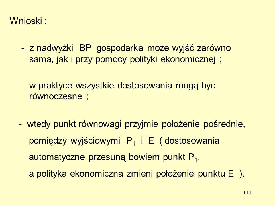 141 - z nadwyżki BP gospodarka może wyjść zarówno sama, jak i przy pomocy polityki ekonomicznej ; -w praktyce wszystkie dostosowania mogą być równoczesne ; - wtedy punkt równowagi przyjmie położenie pośrednie, pomiędzy wyjściowymi P 1 i E ( dostosowania automatyczne przesuną bowiem punkt P 1, a polityka ekonomiczna zmieni położenie punktu E ).