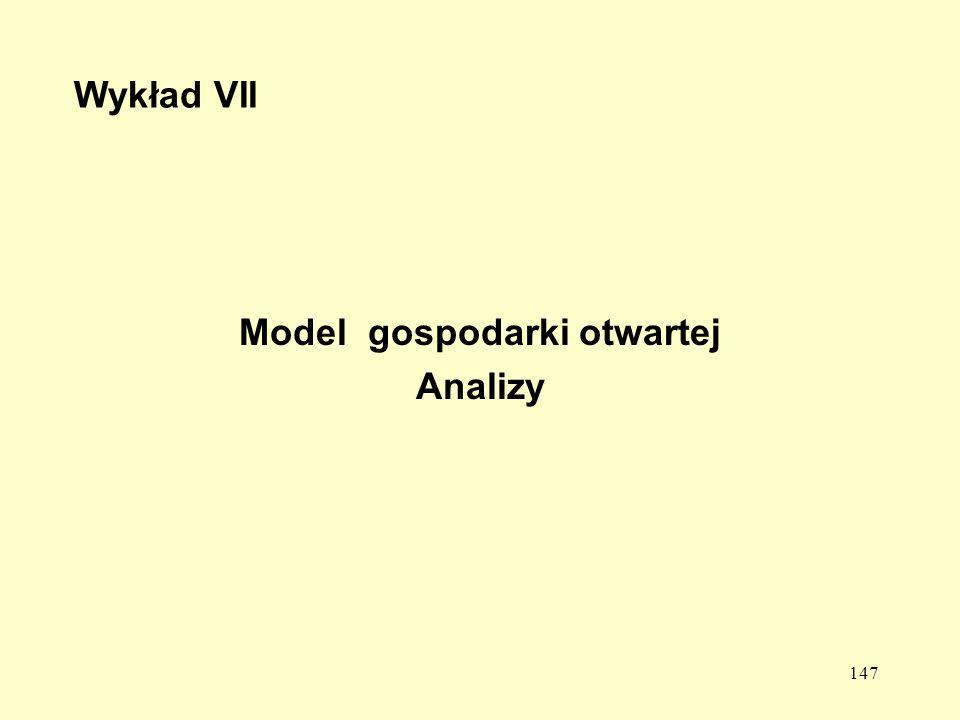 147 Wykład VII Model gospodarki otwartej Analizy