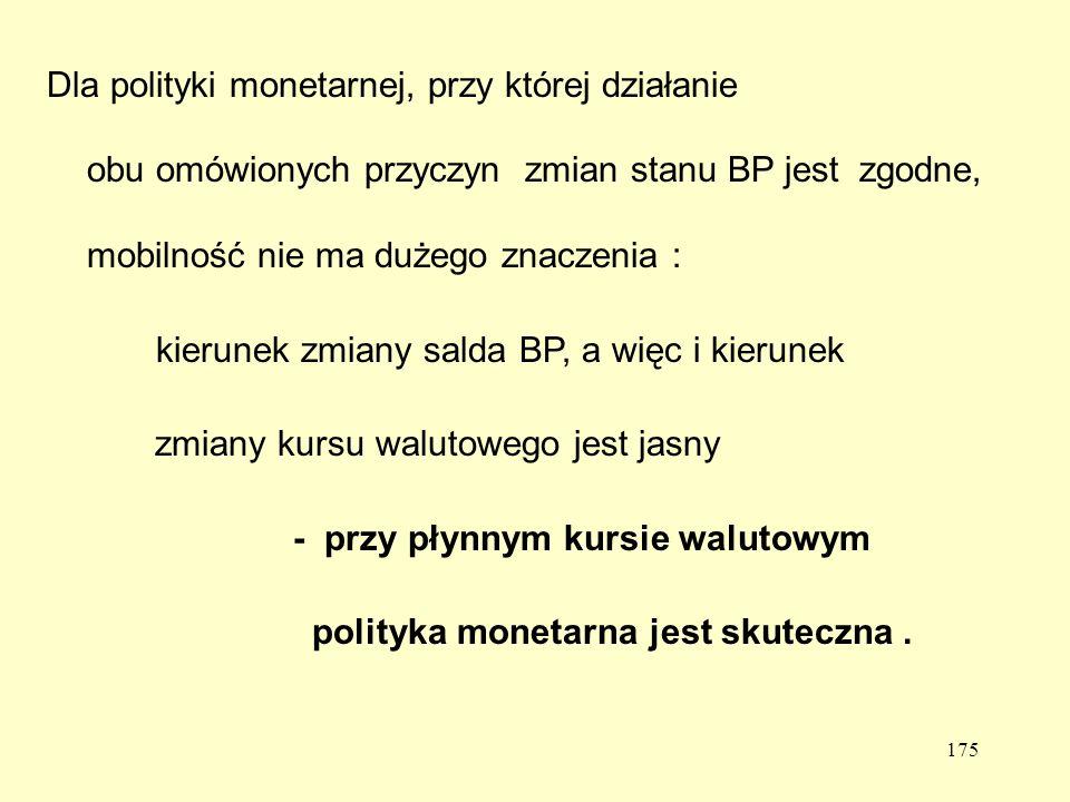 175 Dla polityki monetarnej, przy której działanie obu omówionych przyczyn zmian stanu BP jest zgodne, mobilność nie ma dużego znaczenia : kierunek zmiany salda BP, a więc i kierunek zmiany kursu walutowego jest jasny - przy płynnym kursie walutowym polityka monetarna jest skuteczna.