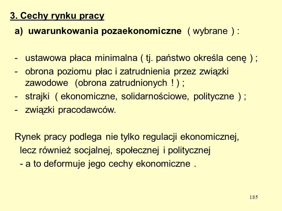 185 a) uwarunkowania pozaekonomiczne ( wybrane ) : -ustawowa płaca minimalna ( tj.