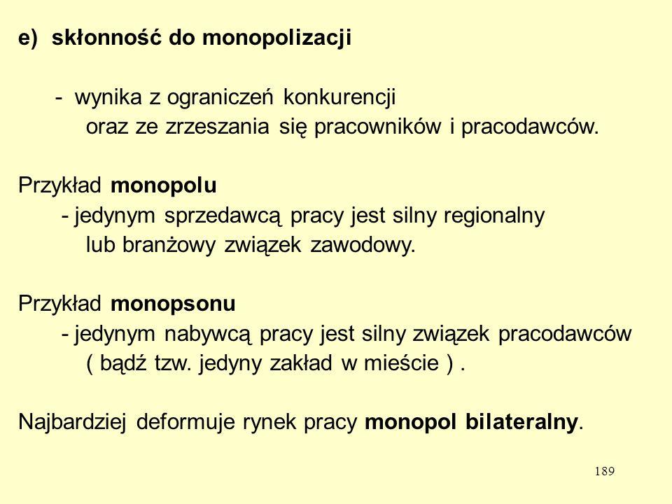189 e)skłonność do monopolizacji - wynika z ograniczeń konkurencji oraz ze zrzeszania się pracowników i pracodawców.