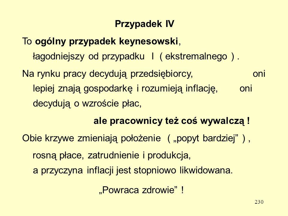 230 Przypadek IV To ogólny przypadek keynesowski, łagodniejszy od przypadku I ( ekstremalnego ).