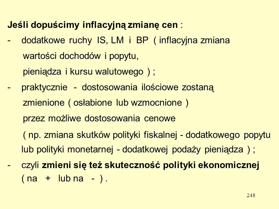 248 Jeśli dopuścimy inflacyjną zmianę cen : -dodatkowe ruchy IS, LM i BP ( inflacyjna zmiana wartości dochodów i popytu, pieniądza i kursu walutowego ) ; -praktycznie - dostosowania ilościowe zostaną zmienione ( osłabione lub wzmocnione ) przez możliwe dostosowania cenowe ( np.