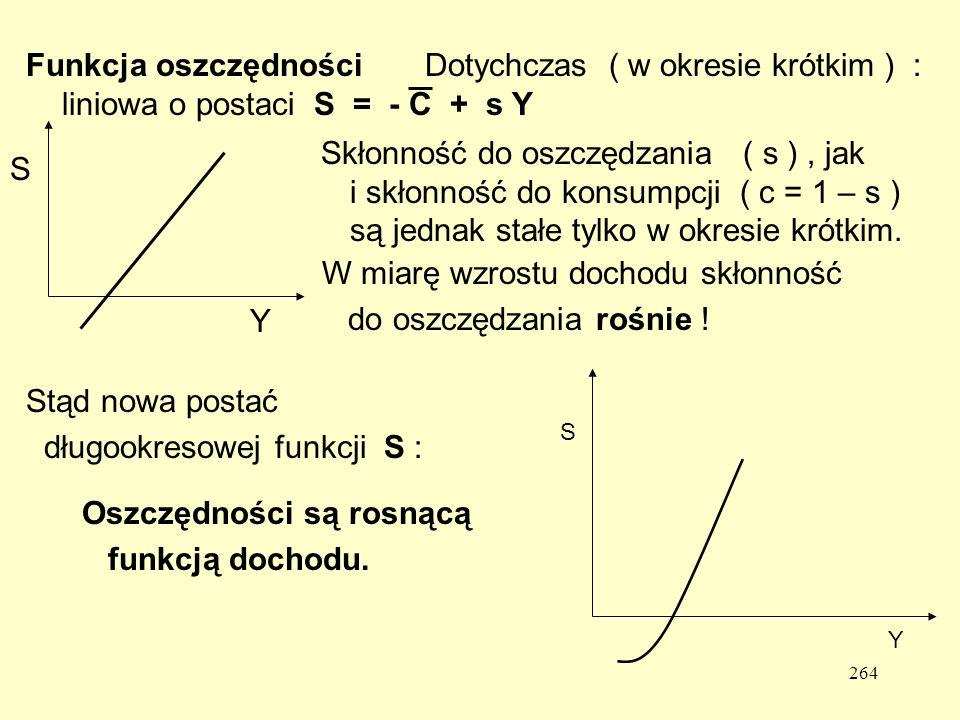 264 Funkcja oszczędności Dotychczas ( w okresie krótkim ) : liniowa o postaciS = - C + s Y S Y Skłonność do oszczędzania ( s ), jak i skłonność do konsumpcji ( c = 1 – s ) są jednak stałe tylko w okresie krótkim.