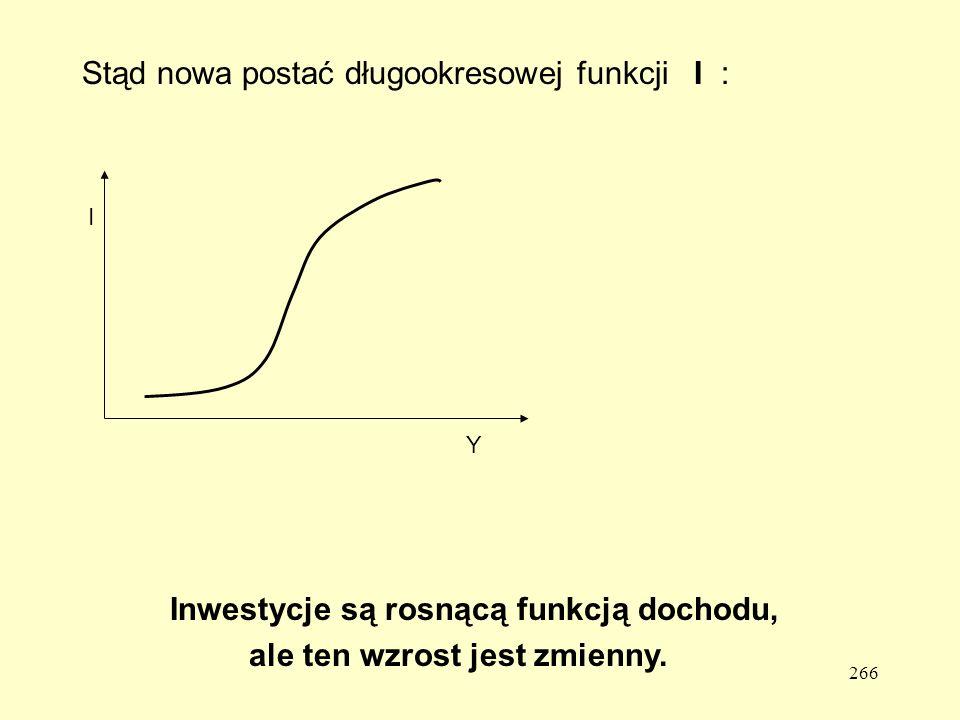 266 Stąd nowa postać długookresowej funkcji I : I Y Inwestycje są rosnącą funkcją dochodu, ale ten wzrost jest zmienny.
