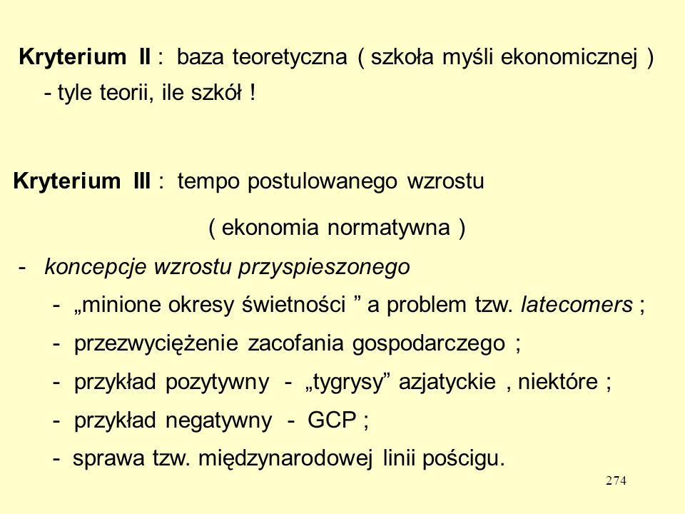 274 Kryterium II : baza teoretyczna ( szkoła myśli ekonomicznej ) - tyle teorii, ile szkół .