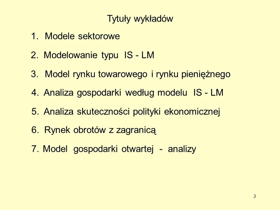 3 Tytuły wykładów 1.Modele sektorowe 2.