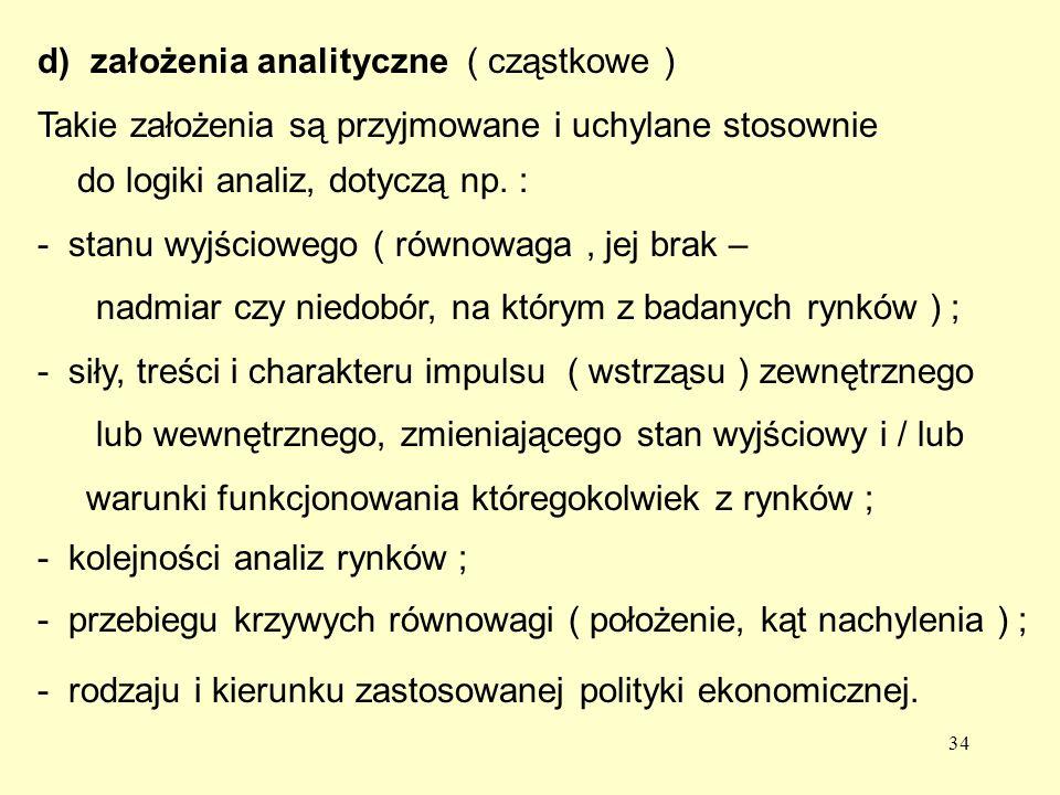34 d) założenia analityczne ( cząstkowe ) Takie założenia są przyjmowane i uchylane stosownie do logiki analiz, dotyczą np.