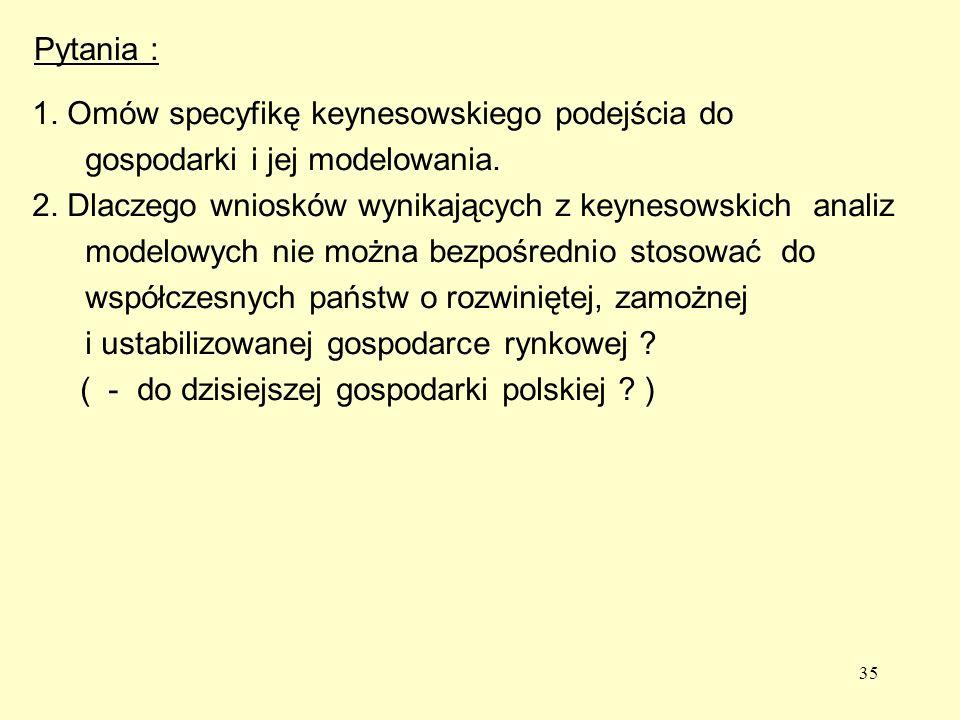 35 Pytania : 1.Omów specyfikę keynesowskiego podejścia do gospodarki i jej modelowania.