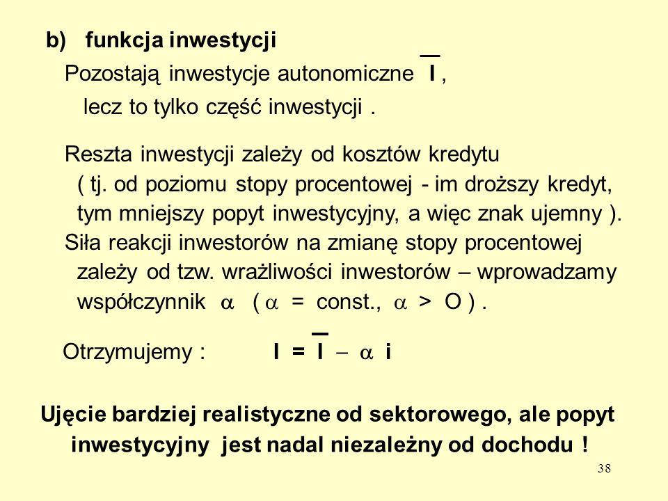 38 Reszta inwestycji zależy od kosztów kredytu ( tj.