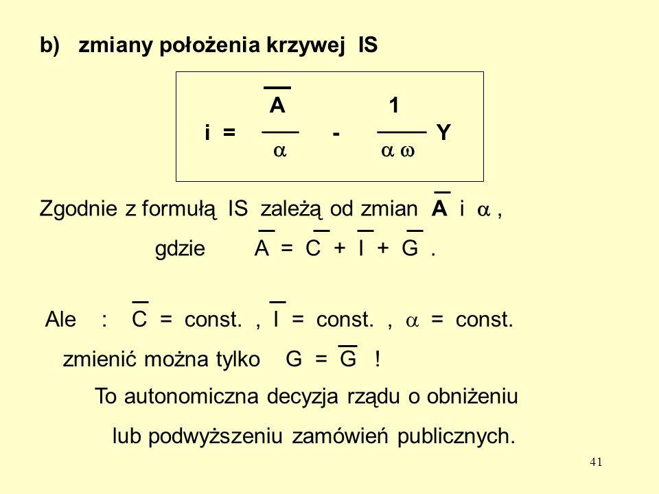 41 b) zmiany położenia krzywej ISi = - Y A 1 ___ ____ To autonomiczna decyzja rządu o obniżeniu lub podwyższeniu zamówień publicznych.