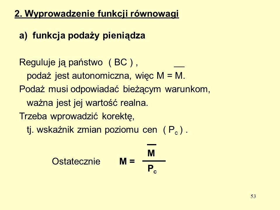 53 a) funkcja podaży pieniądza Reguluje ją państwo ( BC ), __ podaż jest autonomiczna, więc M = M.