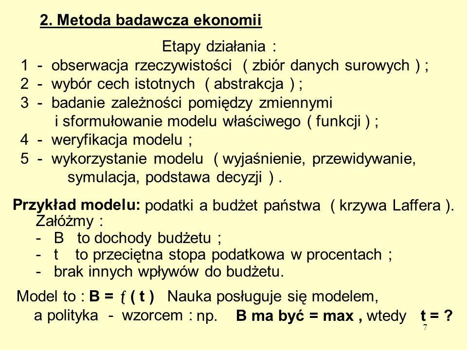7 2. Metoda badawcza ekonomii Przykład modelu: Załóżmy : - B to dochody budżetu ; - t to przeciętna stopa podatkowa w procentach ; - brak innych wpływ