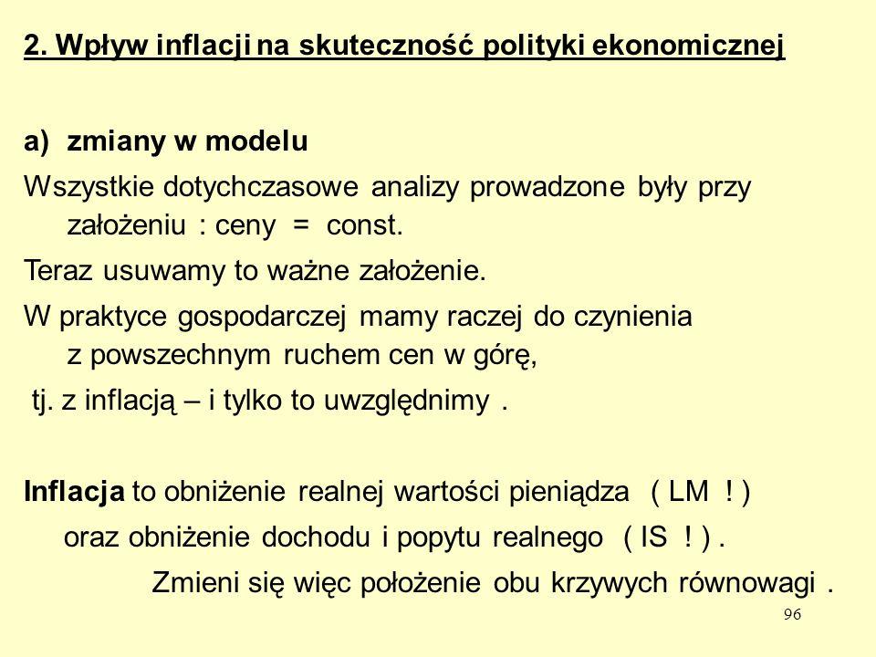 96 a)zmiany w modelu Wszystkie dotychczasowe analizy prowadzone były przy założeniu : ceny = const.