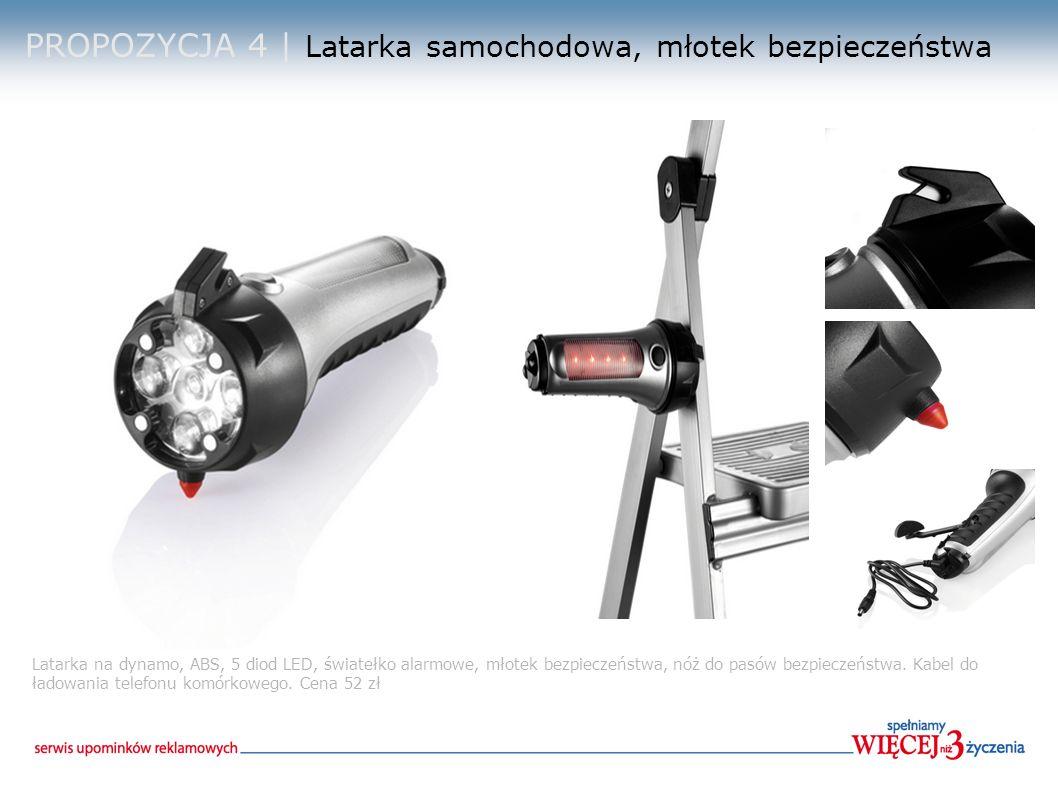 PROPOZYCJA 5 | Światło awaryjne, młotek bezpieczeństwa Światło awaryjne, obudowa ABS srebrna, 1 dioda LED i 9 migających na boku, nóż, młotek do szyb, magnetyczna podstawka do umocowania na samochodzie.