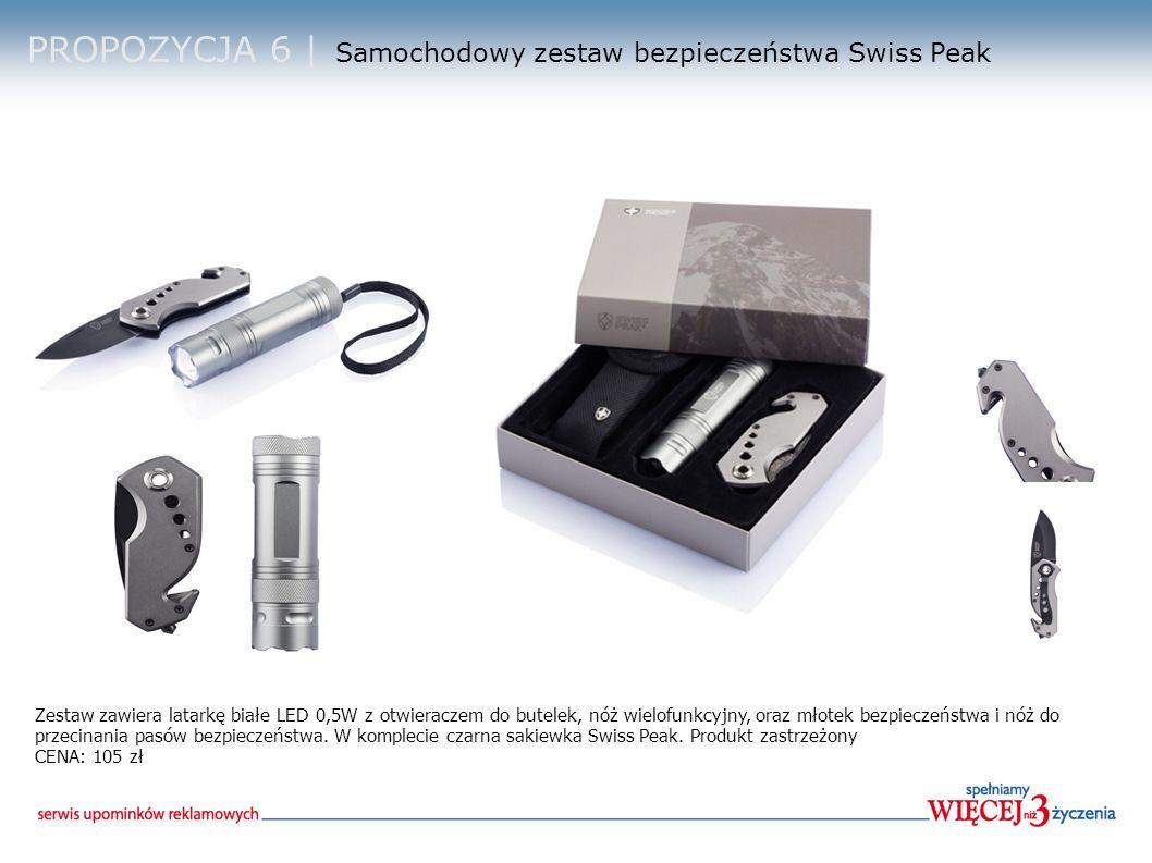 PROPOZYCJA 6 | Samochodowy zestaw bezpieczeństwa Swiss Peak Zestaw zawiera latarkę białe LED 0,5W z otwieraczem do butelek, nóż wielofunkcyjny, oraz młotek bezpieczeństwa i nóż do przecinania pasów bezpieczeństwa.