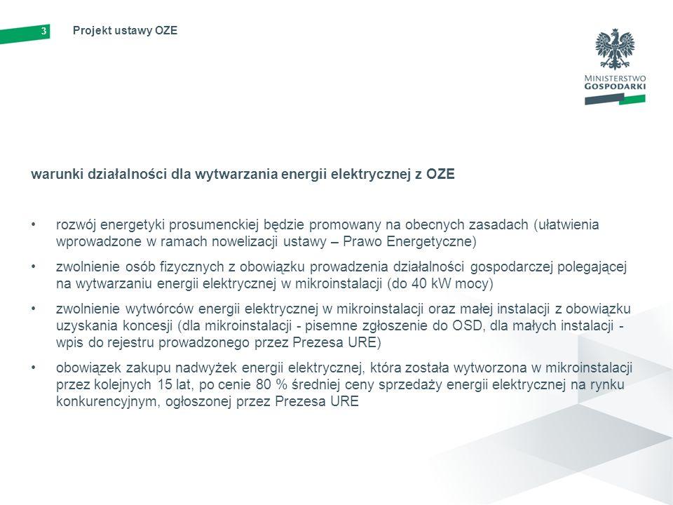 4 Projekt ustawy OZE mechanizmy i instrumenty wspierające wytwarzanie energii elektrycznej z OZE Projekt ustawy OZE porządkuje system wsparcia dla OZE i będzie promować rozwój jednostek wytwórczych w lokalizacjach charakteryzujących się najniższym kosztem wytwarzania energii - maksymalizacja wykorzystania potencjału poszczególnych obszarów utrzymanie obecnego systemu wsparcia dla istniejących instalacji OZE, co zagwarantuje poszanowanie praw nabytych dla wszystkich wdrożenie nowoczesnego systemu aukcji dla nowych i zmodernizowanych instalacji OZE