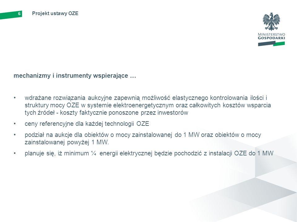 7 Projekt ustawy OZE zasady wydawania gwarancji pochodzenia energii elektrycznej wytwarzanej z OZE dokument potwierdzający, że wytwórca dostarczył do sieci dystrybucyjnej określoną ilość energii z OZE; ważne przez okres 12 miesięcy; zarządzane przez URE (Urząd Regulacji Energetyki) zasady realizacji krajowego planu działania w zakresie energii ze źródeł odnawialnych wskazuje krajowe cele w zakresie udziału energii ze źródeł odnawialnych w transporcie, energii elektrycznej oraz sektorze ogrzewania i chłodzenia do 2020 r.