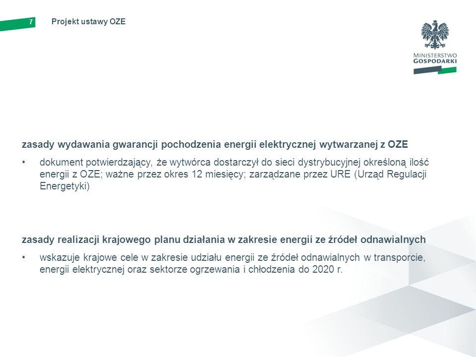 8 Projekt ustawy OZE warunki i procedury certyfikacji instalatorów mikro i małych instalacji oraz akredytacji ośrodków szkoleniowych kotły i piece na biomasę, systemy fotowoltaiczne, słoneczne systemy cieplne, płytkie systemy geotermalne oraz pompy ciepła zarządzane przez UDT (Urząd Dozoru Technicznego) zasady współpracy międzynarodowej w dziedzinie OZE i wspólnych projektów inwestycyjnych przekazanie statystyczne OZE w ramach Unii Europejskiej