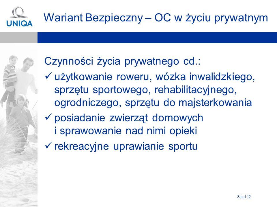 Slajd 12 Wariant Bezpieczny – OC w życiu prywatnym Czynności życia prywatnego cd.: użytkowanie roweru, wózka inwalidzkiego, sprzętu sportowego, rehabi