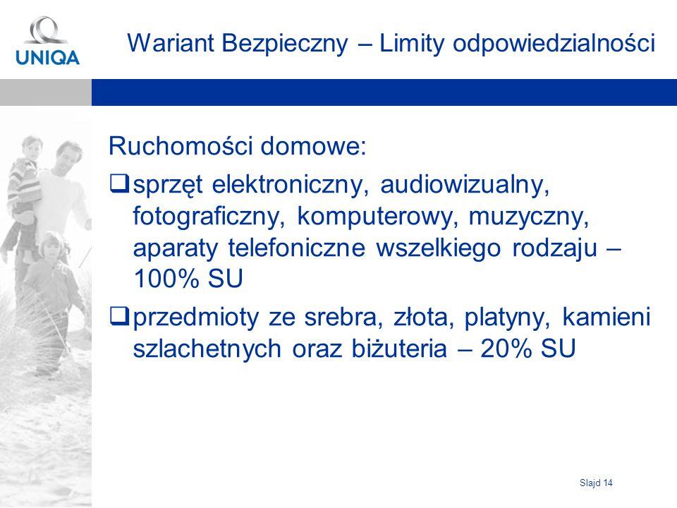 Slajd 14 Wariant Bezpieczny – Limity odpowiedzialności Ruchomości domowe: sprzęt elektroniczny, audiowizualny, fotograficzny, komputerowy, muzyczny, a