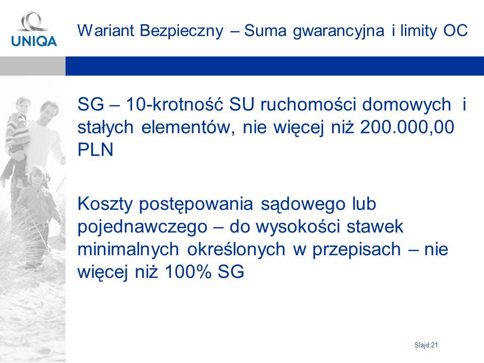 Slajd 21 Wariant Bezpieczny – Suma gwarancyjna i limity OC SG – 10-krotność SU ruchomości domowych i stałych elementów, nie więcej niż 200.000,00 PLN