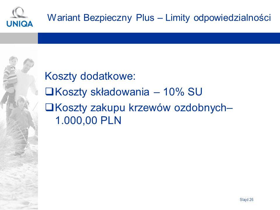 Slajd 26 Wariant Bezpieczny Plus – Limity odpowiedzialności Koszty dodatkowe: Koszty składowania – 10% SU Koszty zakupu krzewów ozdobnych– 1.000,00 PL