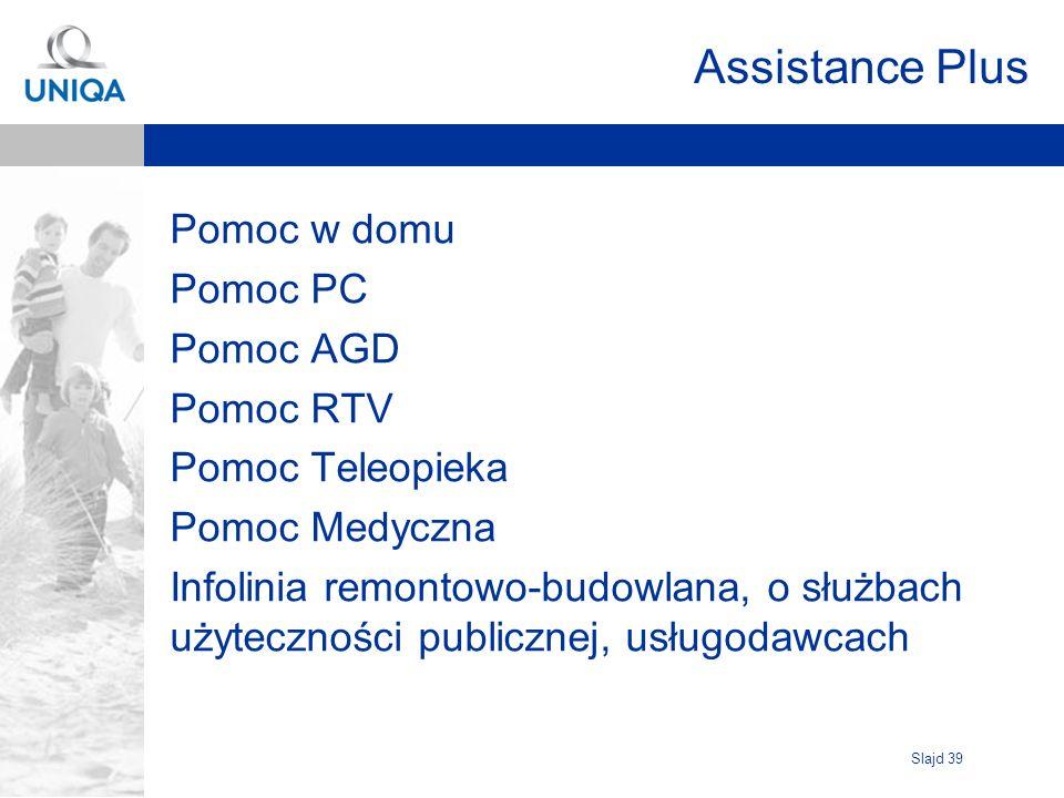 Slajd 39 Assistance Plus Pomoc w domu Pomoc PC Pomoc AGD Pomoc RTV Pomoc Teleopieka Pomoc Medyczna Infolinia remontowo-budowlana, o służbach użyteczno