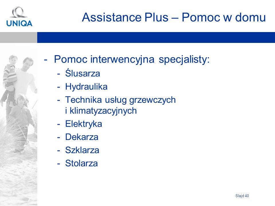 Slajd 40 Assistance Plus – Pomoc w domu -Pomoc interwencyjna specjalisty: -Ślusarza -Hydraulika -Technika usług grzewczych i klimatyzacyjnych -Elektry