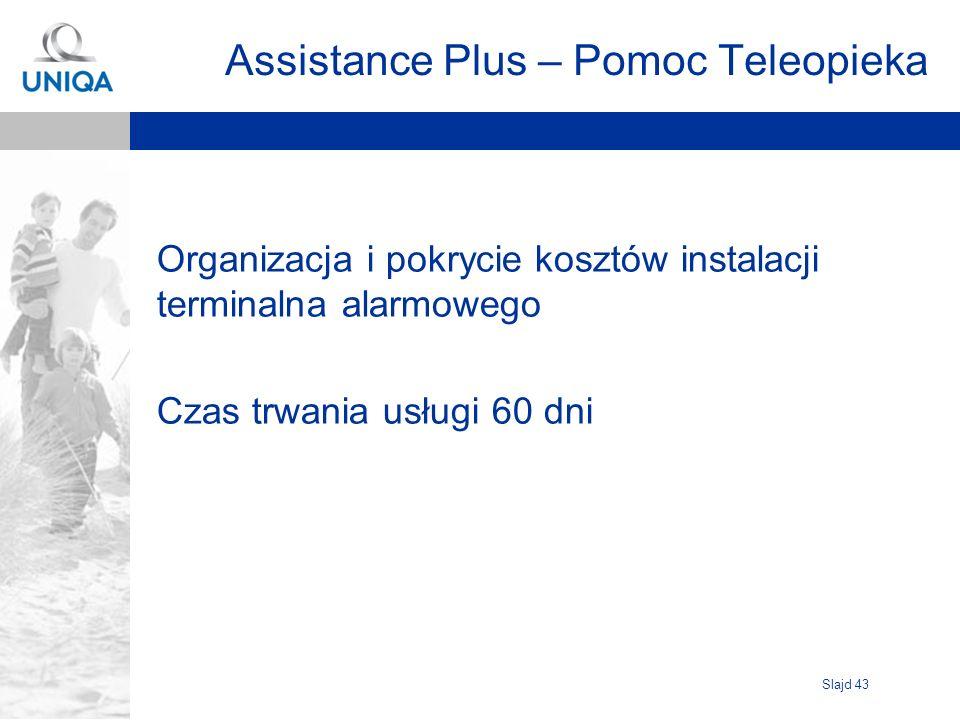 Slajd 43 Assistance Plus – Pomoc Teleopieka Organizacja i pokrycie kosztów instalacji terminalna alarmowego Czas trwania usługi 60 dni