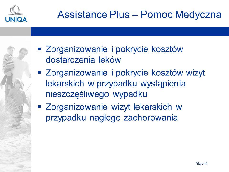 Slajd 44 Assistance Plus – Pomoc Medyczna Zorganizowanie i pokrycie kosztów dostarczenia leków Zorganizowanie i pokrycie kosztów wizyt lekarskich w pr