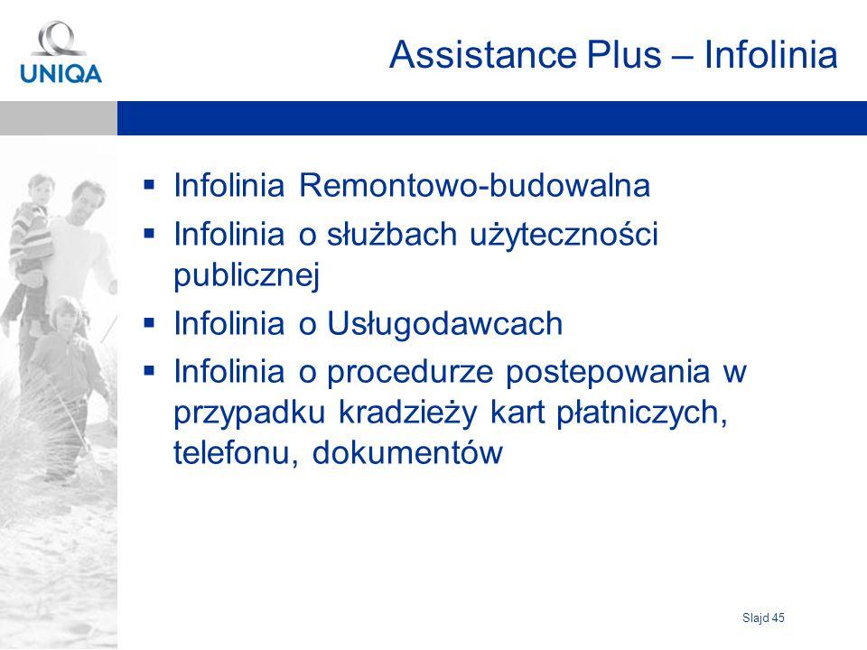 Slajd 45 Assistance Plus – Infolinia Infolinia Remontowo-budowalna Infolinia o służbach użyteczności publicznej Infolinia o Usługodawcach Infolinia o