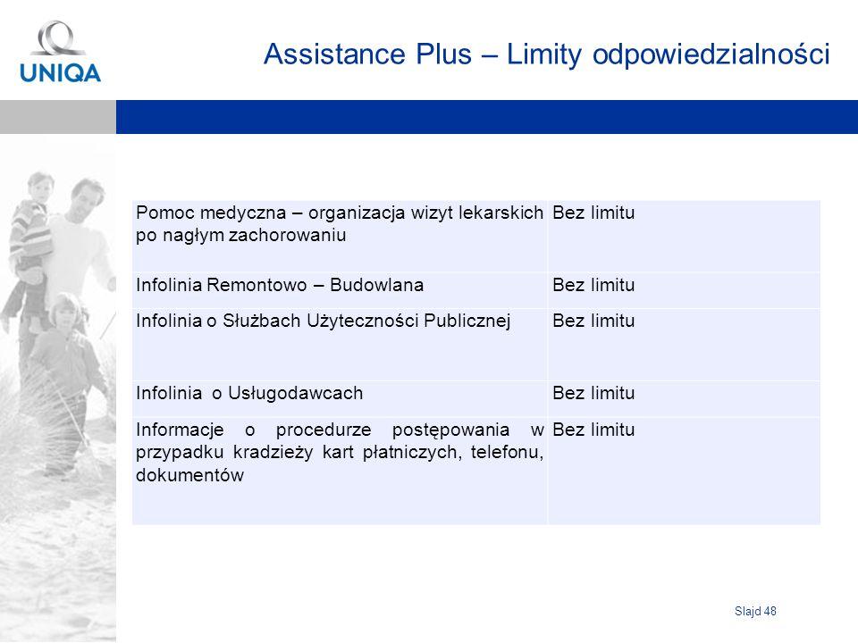 Slajd 48 Assistance Plus – Limity odpowiedzialności Pomoc medyczna – organizacja wizyt lekarskich po nagłym zachorowaniu Bez limitu Infolinia Remontow