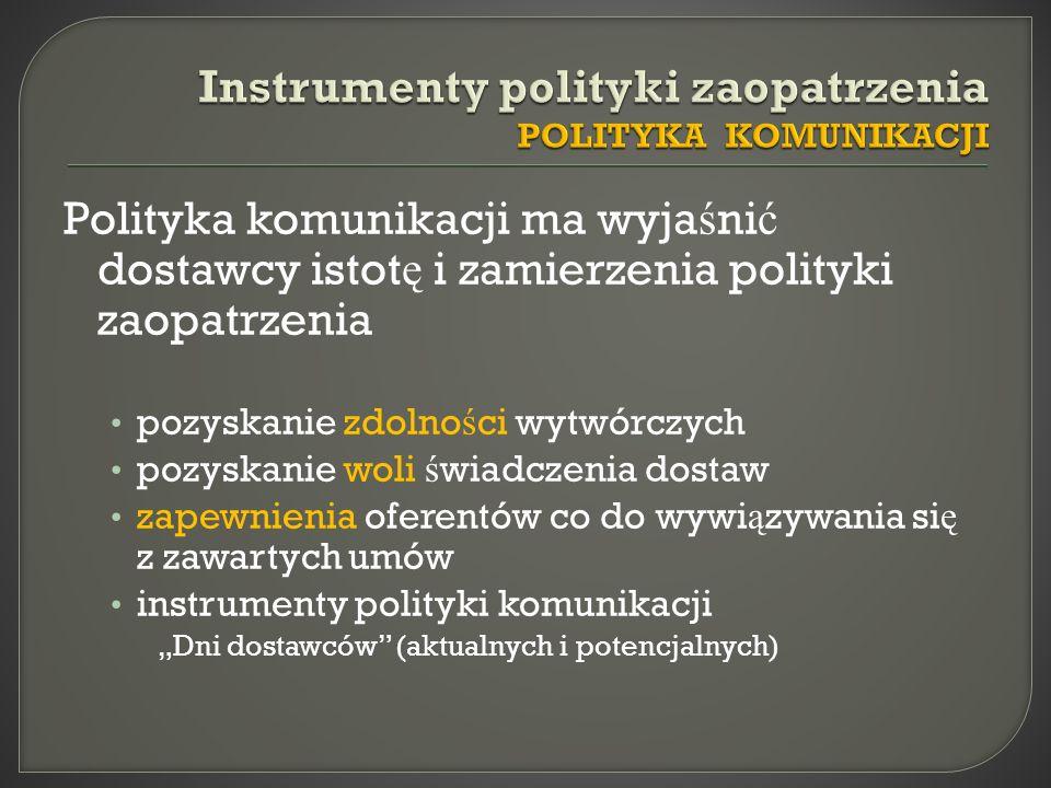 Polityka komunikacji ma wyja ś ni ć dostawcy istot ę i zamierzenia polityki zaopatrzenia pozyskanie zdolno ś ci wytwórczych pozyskanie woli ś wiadczen