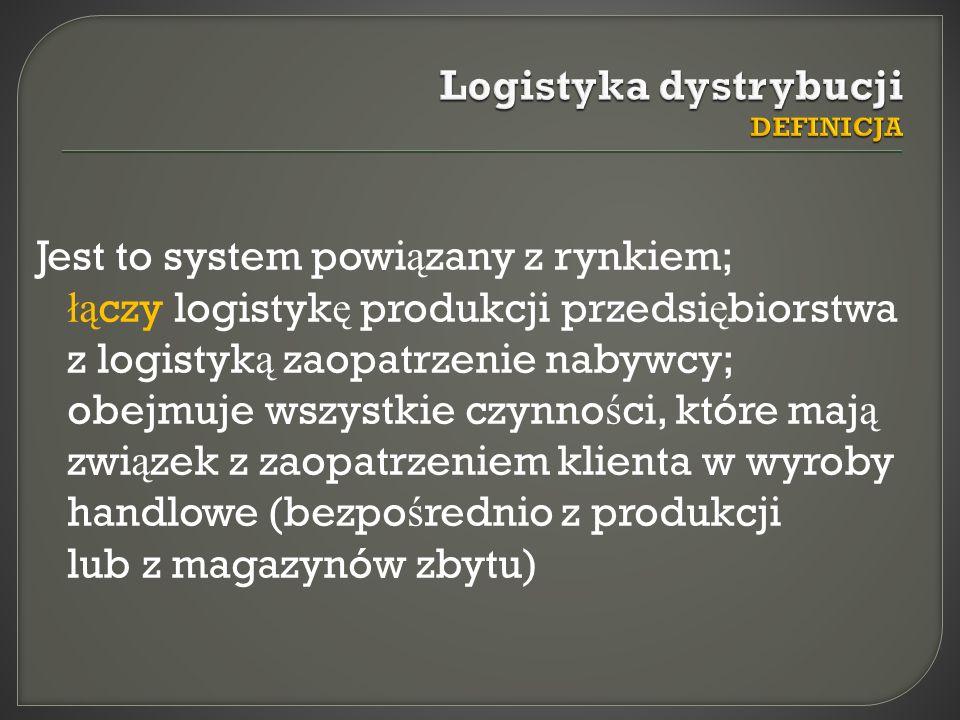 Jest to system powi ą zany z rynkiem; łą czy logistyk ę produkcji przedsi ę biorstwa z logistyk ą zaopatrzenie nabywcy; obejmuje wszystkie czynno ś ci