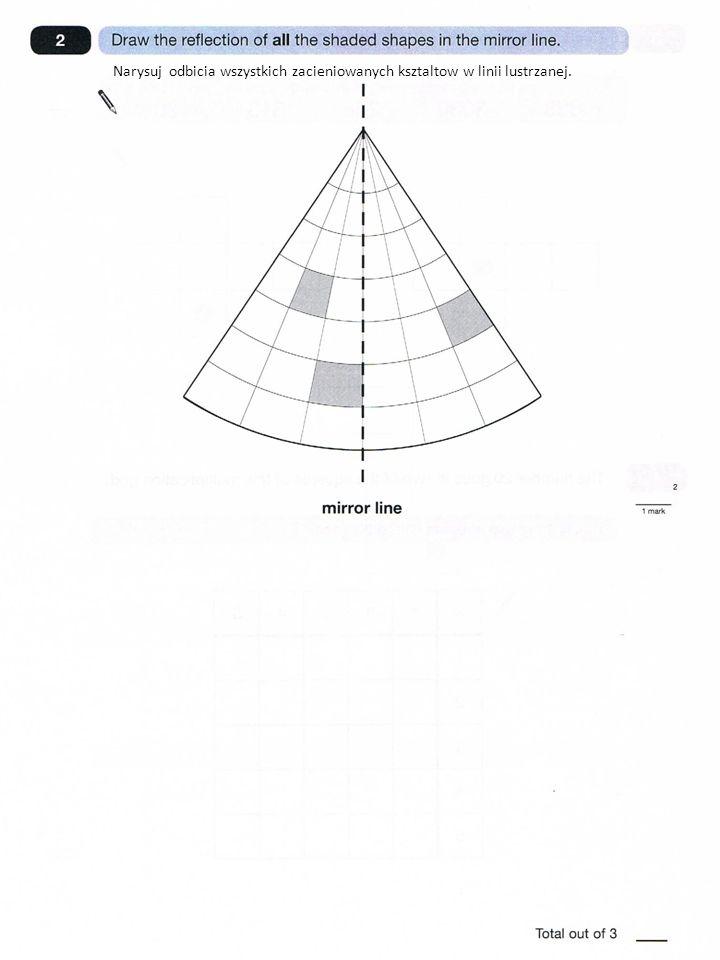 Narysuj odbicia wszystkich zacieniowanych ksztaltow w linii lustrzanej.