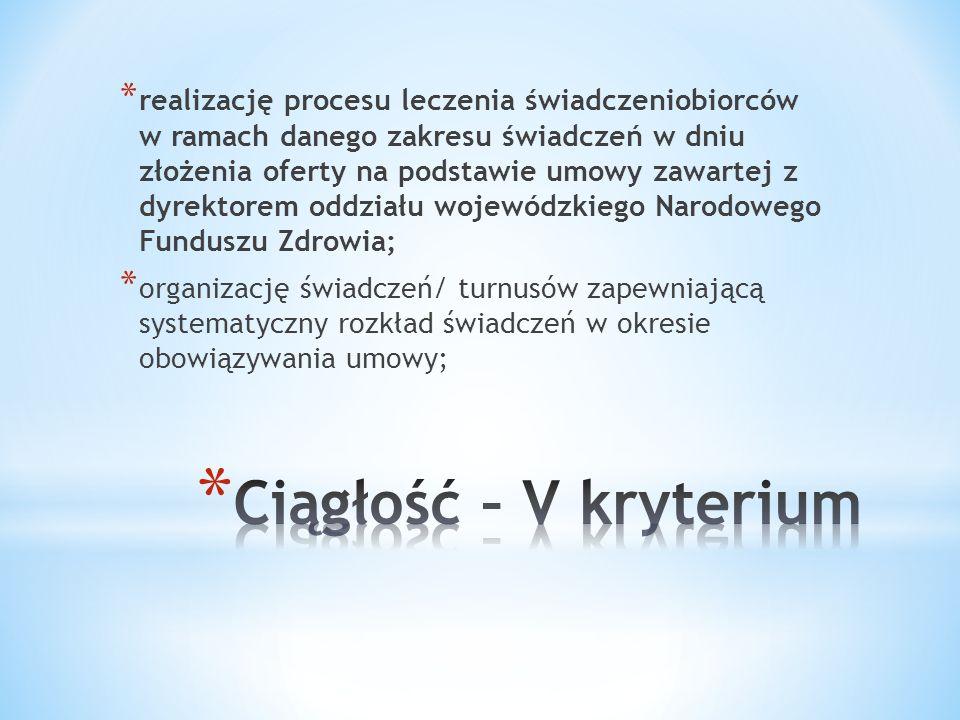 * realizację procesu leczenia świadczeniobiorców w ramach danego zakresu świadczeń w dniu złożenia oferty na podstawie umowy zawartej z dyrektorem odd