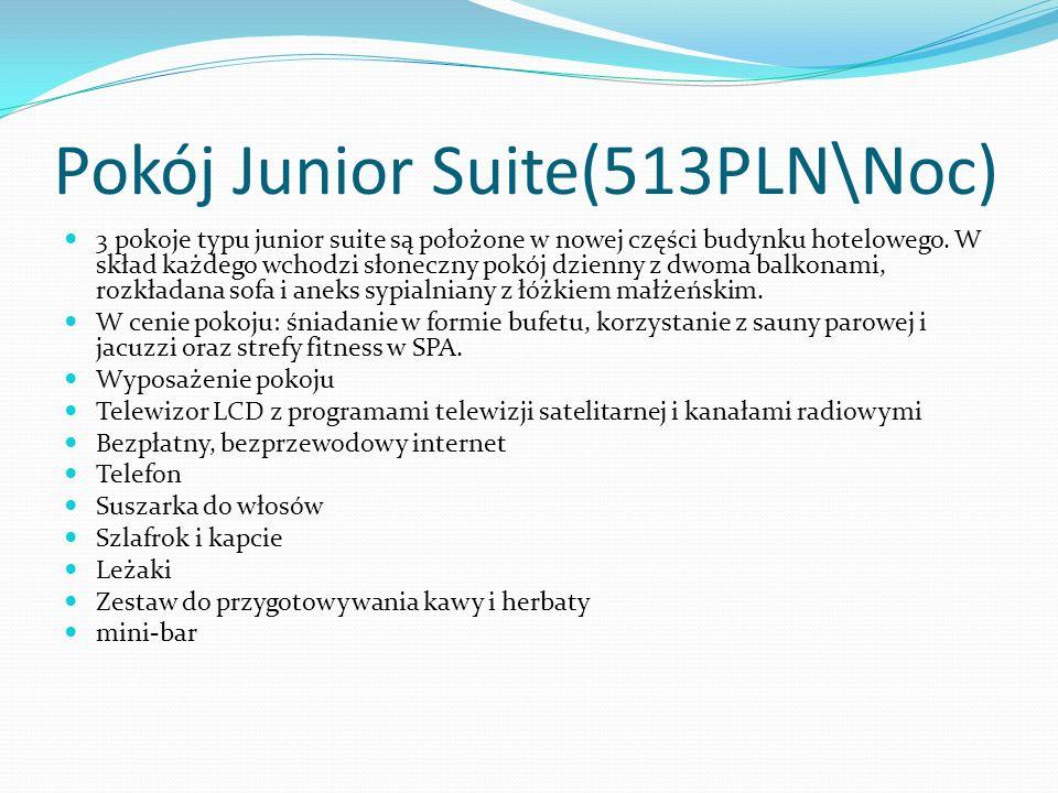 Pokój Junior Suite(513PLN\Noc) 3 pokoje typu junior suite są położone w nowej części budynku hotelowego.