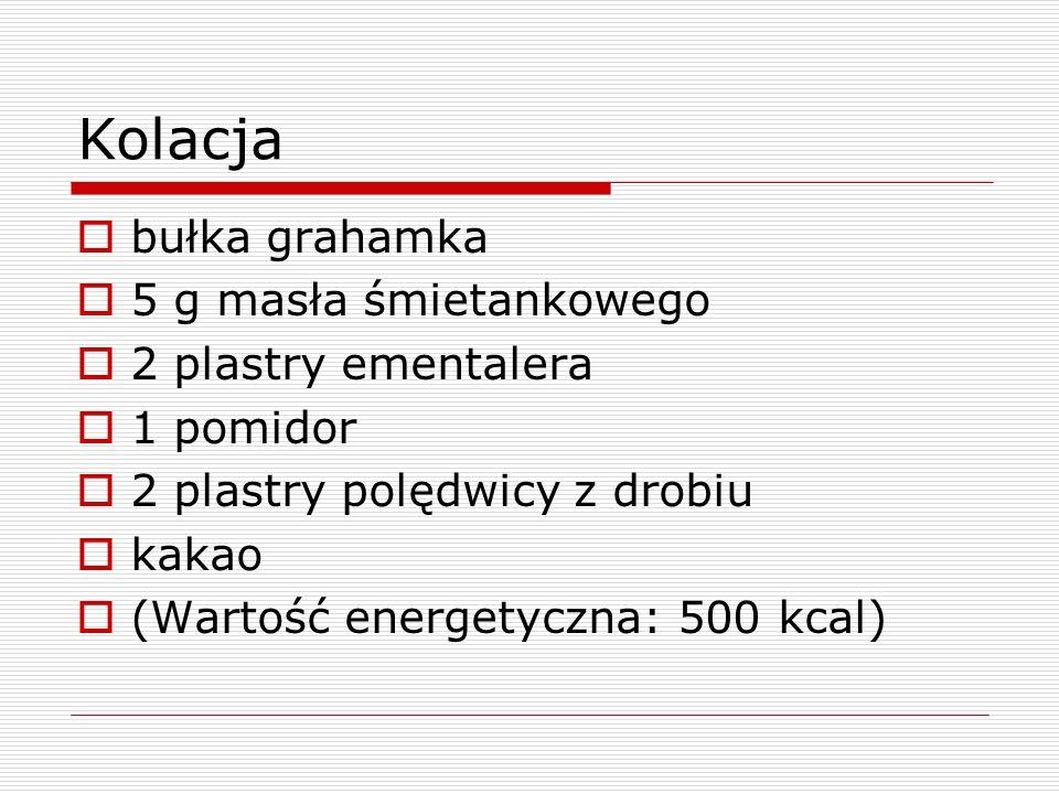 Kolacja bułka grahamka 5 g masła śmietankowego 2 plastry ementalera 1 pomidor 2 plastry polędwicy z drobiu kakao (Wartość energetyczna: 500 kcal)