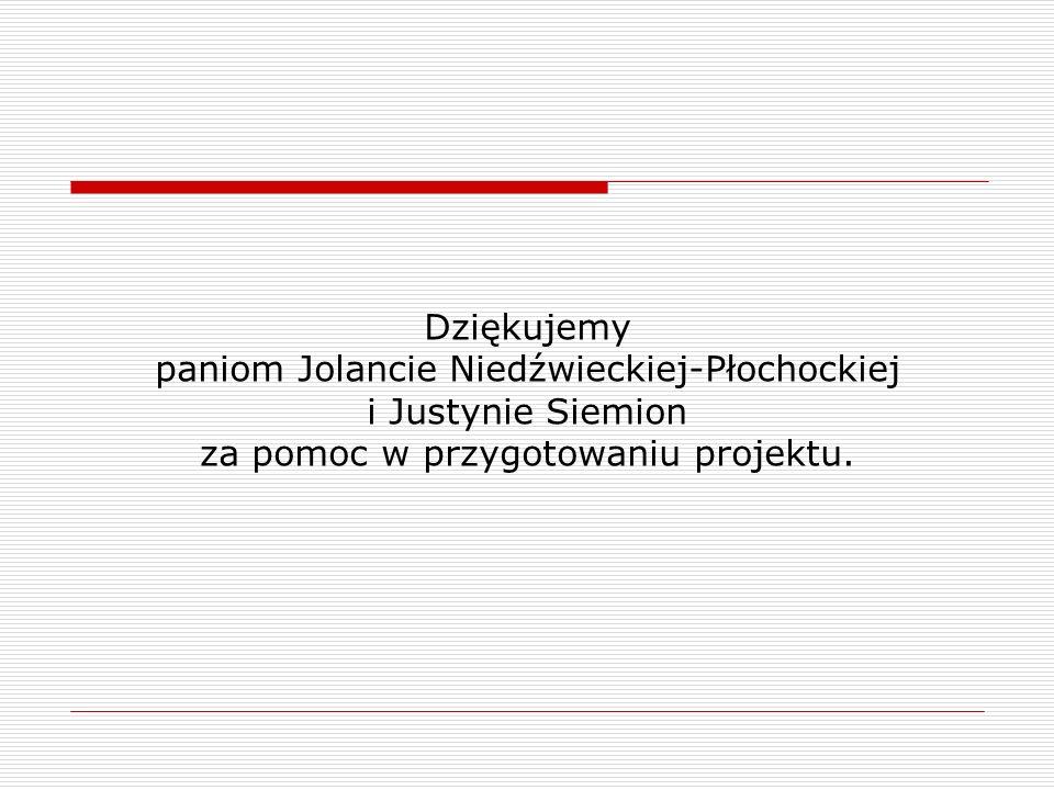Dziękujemy paniom Jolancie Niedźwieckiej-Płochockiej i Justynie Siemion za pomoc w przygotowaniu projektu.