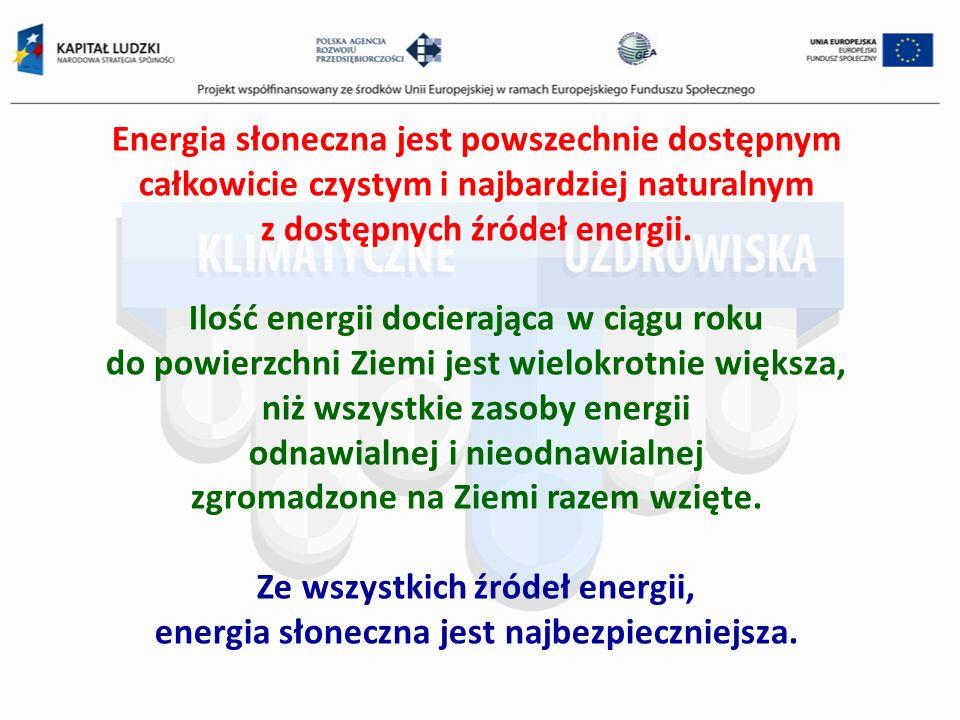 Energia słoneczna jest powszechnie dostępnym całkowicie czystym i najbardziej naturalnym z dostępnych źródeł energii. Ilość energii docierająca w ciąg